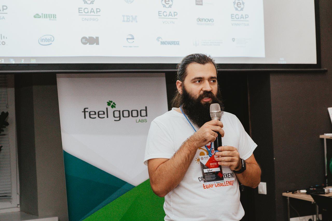 Выступление Сергея Довгополого во время отбора проектов в инкубатор EGAP 2017г.